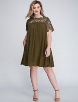 Lane Bryant Crochet & Gauze Swing Dress Women 14 22 24 26 28 Dark Olive 1x 3x 4x