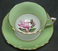 Roslyn China 8440 Large Pink Rose Green & Gold Bone China Tea Cup & Saucer