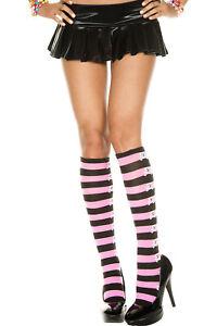 Black Pink Striped Knee Highs Stockings  Crossbone Skeleton O/S New Halloween