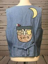 Christopher & Banks Large Denim Baby Button Front Tie Jean Vest Noah's Ark