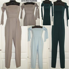 EX ASOS Off The Shoulder Tie Up sleeve Jumpsuit Sizes  8, 10, 12, 14, 16, 18