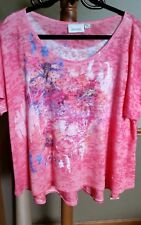 Avenue Plus Size 22 24 Beaded Watercolor SS Top