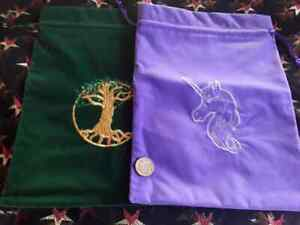 Tree of Life or Unicorn Large Velvet Bag, super soft velvet & a beautiful design