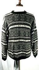 FENN WRIGHT & MANSON  Nwot Men XL Black/Grey/Wht  Linen/Cotton Crew Neck Sweater