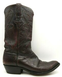 Lucchese Burgundy Leather Classic Cowboy Western Boots Shoes Men's 9 D