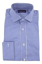 Ralph Lauren Purple Label Dress Shirt Blue/White Aston French Cuff 14.5/37