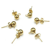 Gold Color Stainless Steel Earring Post W/Stoppers 4mm ball Earrings Stud