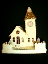"Vtg 7""T Christmas Cardboard Putz Mica White Church W/ Clock Gold Glitter Roof"