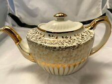 """Gibsons Staffordshire England Teapot Vintage Gold Cream Flowers Vines 10"""" x 6"""""""