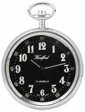 Reloj De Bolsillo Woodford árabe Abierta Cara Mecánico-Plateado/Negro