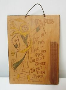 Antique Hanging Hatpin Holder Pyrography Wood