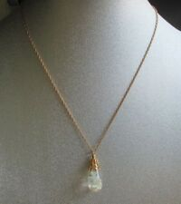 Vintage Large Floating Opal Pendant Necklace Gold Filled Chain