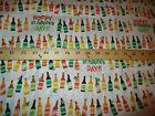 Hoppy St Patricks Day Cotton Fabric Row of Beer Bottles Cotton Fabric 1 Yard L