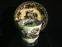 ANTIQUE E CHALLINOR TUNSTALL IRONSTONE FLOW BLACK TRANSFER CUP & PLATE ~ 1850's