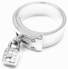"Authentic! Hermes 18k White Gold Diamond ""H"" Lock Band Ring Size 5"