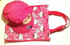 Hello Kitty BASEBALL HAT CAP Pink W/Polka Dots Embroidery ONE SIZE & BAG