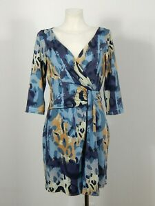 Diane von Furstenberg 100% silk blue and beige wrap up effect draped dress sz 10