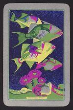 1 Single VINTAGE Swap/Playing Card EN FISH 'TRIGGER FISH TR-5-1-A' Silver
