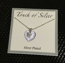 Touch of Silver Heart Butterfly Pendant Necklace in Silver-Plated Metal