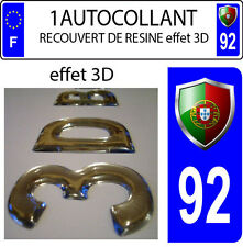 1 sticker plaque immatriculation auto DOMING 3D RESINE FAGNON PORTUGAL DEPA 92