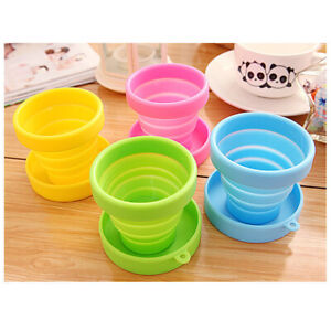 Portable Fold Silicone RetractableWater Cup with Lid Outdoor kitchen Water Cup