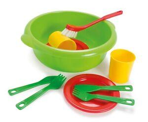 DANTOY KIDS CHILDRENS PLAY WASHING UP SET washing up bowl with plates culery etc