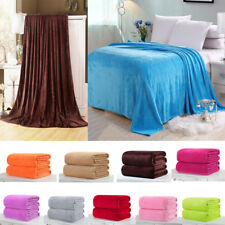 Solid Color Plush Diamond Throw Soft King Cozy Flannel Blanket Full Super Queen