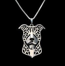 ❤ collar, colgantes, American Staffordshire Terrier, cabeza de perro Necklace