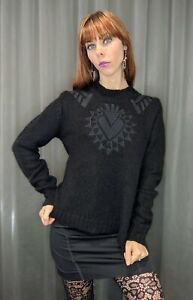 Womens GUESS Black Soft Mohair Wool Blend Embroidered Heart Jumper Sweater XS