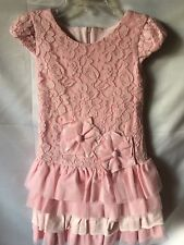 Isobella and Chloe Girls Pink Lace And Netting Tiered Drop Waist Dress Sze 4-New