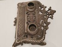Antique Brass Double Inkwell Ornate Art Nouveau (silver color finish)