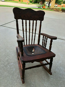 Antique Child's Wooden Rocking Chair - seat needs repair