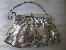 Vintage Art Deco  Silver T Mesh Chain Mail Clutch Bridal Purse Whiting & Davis