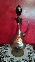 Smoke Olive Green Glass Decanter Carafe Stopper Handle Foot Gold Leaf Trim VTG