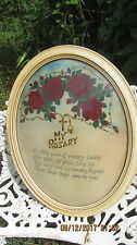 Antique Shabby Framed My Rosary Motto Print Convex Bubble Glass Picture Frame