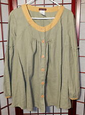 DESIGN TODAY'S Flax LINEN Artsy LAGENLOOK Flared SMOCK Top PEASANT Shirt S M L