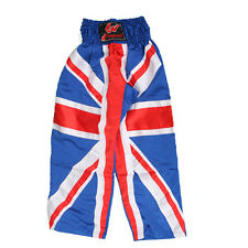 Full Contact UK Flag Satin Trousers GB Great Britain Kick Boxing Pants Bottoms