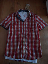 FAT FACE RED WHITE HOCKLEY CHECK SHIRT WITH WHITE T SHIRT CRISP XS MEN TEEN BNWT