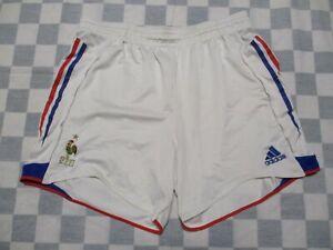 Short équipe de FRANCE 2004 ADIDAS vintage époque ZIDANE blanc home football L