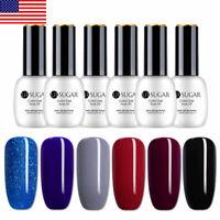6 Bottles UR SUGAR Blue Black UV Gel Polish Kit Set LED Lamp Gel Varnish 15ml