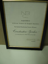 Rare 1963 NBC 15th Year Service Award Plaque Signed By President Robert Kintner