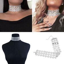 Women Punk Chocker Vintage Silver Crystal Rhinestone Choker Collar Necklace UK