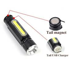 LED Flashlight USB Rechargeable battery Powerful T6 torch Side COB Light c US
