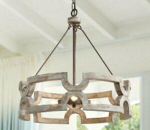 "LNC Jolla 20"" 3-Light Rustic Bronze Candelabra Drum Pendant Chandelier A03564"