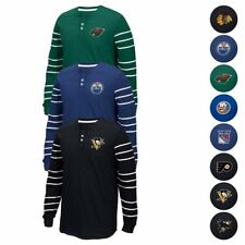 NHL CCM Throwback 3-Button Henley Long Sleeve Vintage T-Shirt Collection Men's