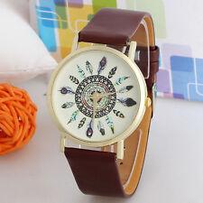 Band Quartz Unique Wrist Watch Women Vintage Feather Analog Watches Dial Leather