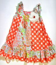 Pink Tangerine Baby Nay Sundress Tiered floral Check Pattern Tulle Flower 4 XXS
