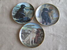 "SET OF 3 LABRADOR DOG COLLECTORS PLATES BY FRANKLIN MINT 8.25"" WIDE"