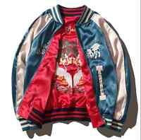 Men Embroidery Animal Satin Reversibe Baseball Ladies Bomber Jacket Coat Unisex