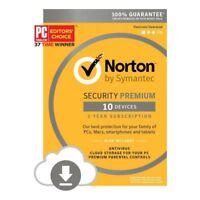 Norton Internet Security Premium 2019 10 PCs / Devices + Backup 1 Yr EU Email